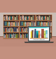 7bookshelve with books on computer screen vector image vector image