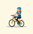a woman wearing sportswear and a helmet rides a vector image vector image