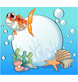 An ugly fish under the sea near the pearls vector image vector image