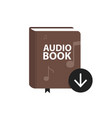 audio book icon with download arrow button online vector image vector image