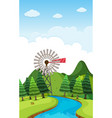 background scene with trees and river vector image vector image
