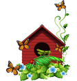 Birdhouse with flowers and insects vector image vector image