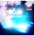 blue beautiful christmas background with reindeer vector image