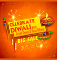 burning diya on happy diwali holiday sale vector image vector image