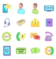 Call center icons set cartoon style vector image vector image