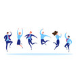 cartoon color characters people jumping business vector image vector image