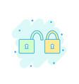 cartoon colored padlock icon in comic style lock vector image vector image