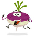 cartoon happy turnip character running vector image vector image