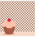 Cherry cupcake on black polka dots pink background vector image vector image