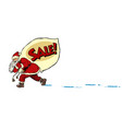 christmas sale business concept santa with a bag vector image vector image