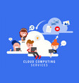 cloud computing services concept group people vector image vector image