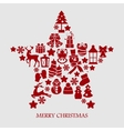 Collection of star silhouette christmas elements vector image