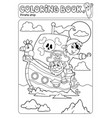 coloring book pirate boat theme 2 vector image vector image