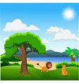 couple of lion cartoon on beautiful landscape vector image vector image