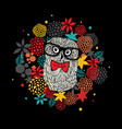 creative portrait of hipster owl in glasses vector image vector image