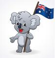 cute smiling happy koala holding australian flag vector image vector image