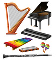 Different kind of musical instruments vector image vector image