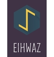 Eihwaz rune of Elder Futhark in trend flat style vector image vector image