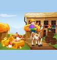 farmer riding horse in the farm vector image vector image