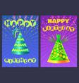 festive cone cap happy birthday postcard vector image vector image