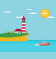 flat lighthouse vector image vector image