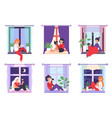 girls in windows young women sitting on vector image