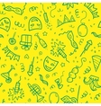 Green carnival symbols in doodle style on yellow vector image vector image