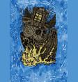 grunge of creepy skull magician vector image vector image
