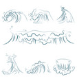 hand drawn volumetric blue line sea waves vector image vector image