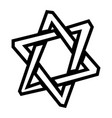 jewish star of david six pointed star in black vector image vector image