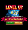 level up screen for slot game vector image vector image