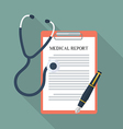 Medical report with stethoscope and pen vector image vector image