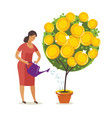 money tree watering can finance investing vector image