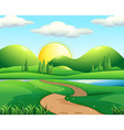Nature scene with road and field vector image