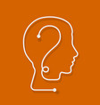 one line forming a human head with question mark vector image vector image