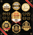 quality golden badges and labels collection 2 vector image vector image