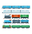 Railway trains in flat style vector image vector image