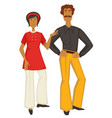 retro couple 70s fashion style man and woman in vector image vector image