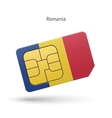 Romania mobile phone sim card with flag vector image
