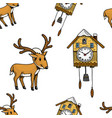 seamless pattern cuckoo clock deer merry vector image vector image