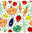 seamless pattern with funny vegetables and fruits vector image vector image
