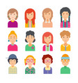 set of faces in flat design vector image