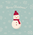 snowman on winter backdrop vector image vector image