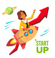 startup rocket soars up on background of vector image