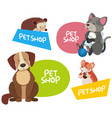 sticker design for different types of pets vector image vector image