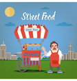 Street Food Concept with Burger Food Truck vector image vector image
