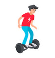 teenager riding modern electric scooter vector image