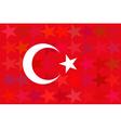 turkey flag on unusual red stars background vector image