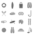 Water sport icons set black monochrome style vector image vector image