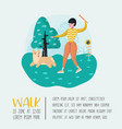woman training dog in park dog poster vector image vector image